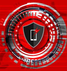 cyber digital shield phone vector image vector image