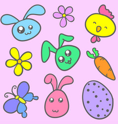 Doodle of bunny flower and butterfly vector