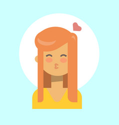 female blow kiss emotion profile icon woman vector image vector image