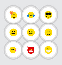 Flat icon emoji set of cold sweat cross-eyed face vector