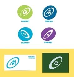 Flat letter set icon colors vector