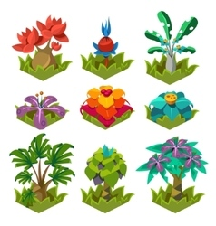 Garden plants with flowers for game vector