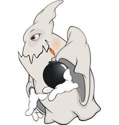 Ghost and bomb cartoon vector image