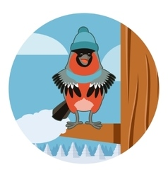 Happy Bullfinch with Hat on the winter background vector image vector image