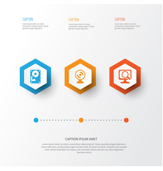 Hardware icons set collection of web camera laptop vector