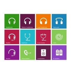Headphones and speakers icons on color background vector