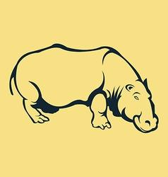 Hippopotamus line art vector