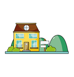 House next to mountains and trees vector