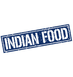 Indian food square grunge stamp vector