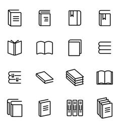 Line book icon set vector