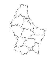 Luxembourg map of black contour curves vector