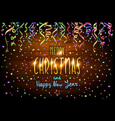 merry christmas and happy new year wooden vector image vector image