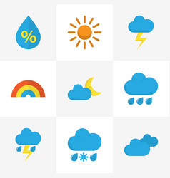 meteorology flat icons set collection of overcast vector image