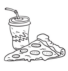 Pizza and soda vector