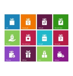 Present Box on color background vector image