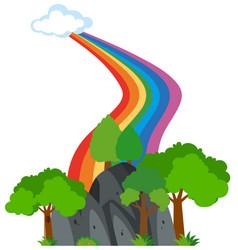 Rainbow from sky to the park vector
