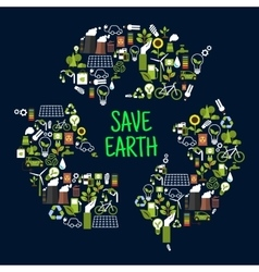 Save earth icons in shape of recycle sign vector