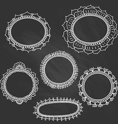 Set of doodle frames on the chalkboard vector image