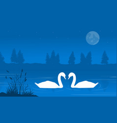 Silhouette of swan on lake landscape vector