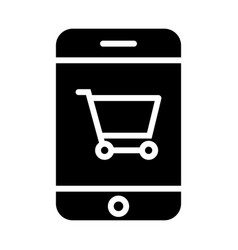 smartphone with shopping cart silhouette icon vector image
