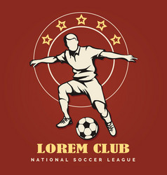 soccer club retro emblem vector image