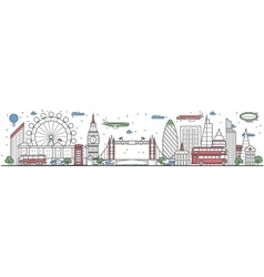 Travel in london city line flat design banner vector