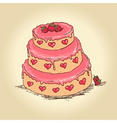 valentine cake vector image vector image