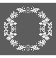 Vintage baroque frame border with leaf scroll vector