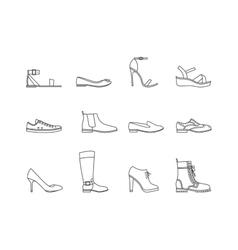 Woman Shoes Thin Line Set vector image