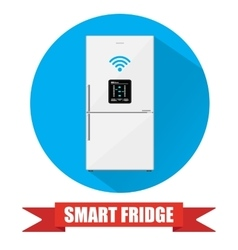 Smart refrigerator or fridge with lcd display vector