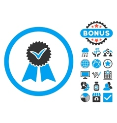 Approvement seal flat icon with bonus vector