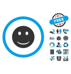 Smile flat icon with bonus vector