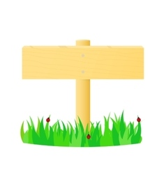 Wooden pointer in the green grass vector