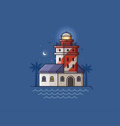 red lighthouse vector image