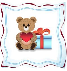 Teddy bear and gift vector