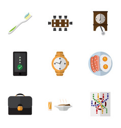 Flat icon life set of lunch fried egg briefcase vector