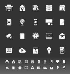 Home office icons on gray background vector
