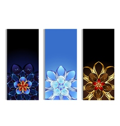 Vertical banners with abstract flowers vector