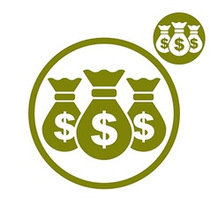 Three money bag simple single color icon isolated vector
