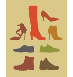 Silhouettes of different footwear tipes vector