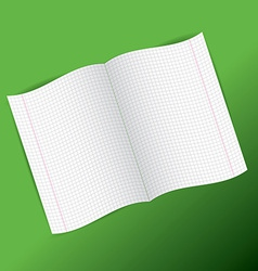 Checkered notebook paper on green background vector
