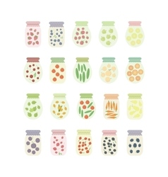 Set of jars with fruits berries and vegetables vector