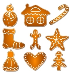 Set of christmas gingerbread cookies vector