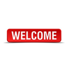 Welcome red 3d square button isolated on white vector