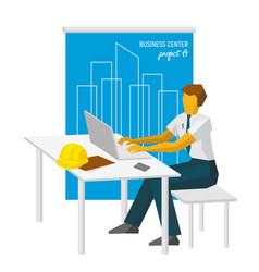 Architect work with laptop blueprint at back vector