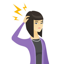 Asian business woman with lightning over head vector