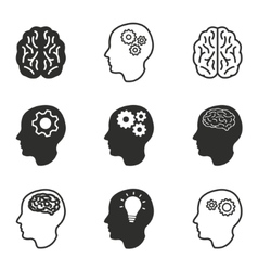 Brain icon set vector image vector image