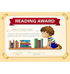 Certification template with boy and books vector image vector image