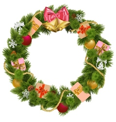 Christmas Wreath with Christmas Bell vector image vector image