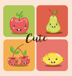 cute fruits kawaii cartoons vector image vector image